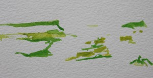 Colour flits across the fields - watercolour, paper - Approx 30 mm x 70 mm