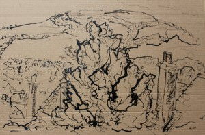 ink stick sketch on card - Approx 280 mm x 200 mm