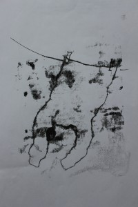 Monoprint of shirt drying - ink and paper - Approx 20 mm x 30 mm