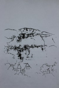 Monoprint of the view - ink and paper - Approx 20 mm x 30 mm