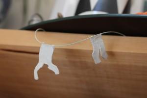 Sweet Pea Dreams - Laundry Line - clay, acrylic, nylon - Approx 150 mm x 30 mm