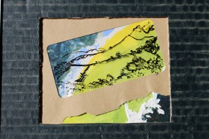 View - ink, acrylic, post use papers, card, cellophane - Approx 190 mm x 130 mm